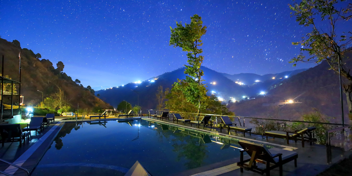 Pool on the edge: overlooking Ashwini River Valley