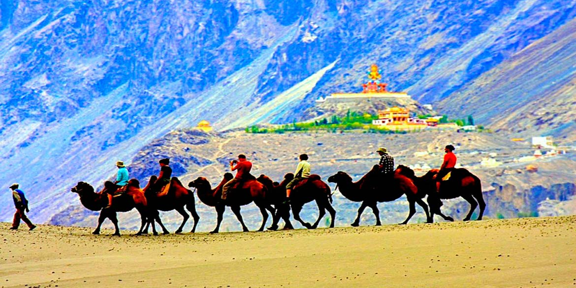 LEH - NUBRA VALLEY at HUNDER (average altitude 3048 M) 140 km / 5 hrs